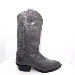 Vintage Tony Lama Gray Leather Cowboy Boots Sz 9D